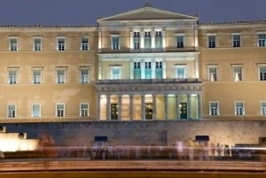 Parliament Building on Syntagma Square before sunrise