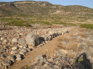 Remains of the coastal fortification wall of Gournia