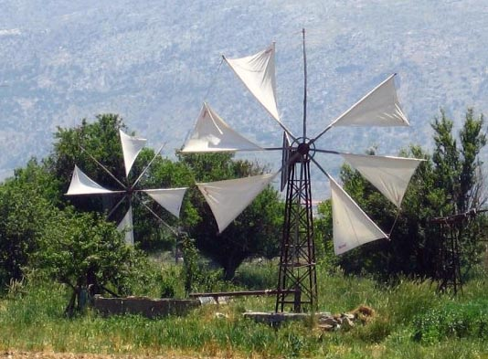 Some wind-powered water pumps are still in use