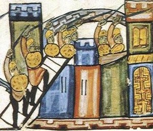 Byzantine soldiers scaling the fortress walls