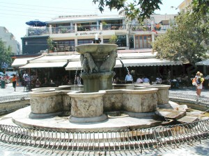 Platia Venezelou is the busiest and most interesting place in town