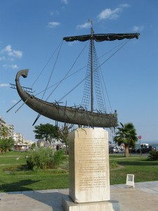 A bronze Argo monument on the Volos waterfront, not far from Hotel Iason (Jason)