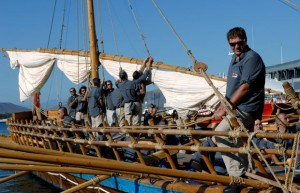Modern Argonauts prepare the Argo for its departure from Volos