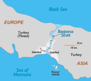 The straight of Bosporus, which separates Europre from Asia, is is the only sea route from the Aegean into the Black Sea
