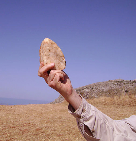 Handaxe excavated near one of the ancient cave homes.