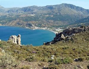 High, rocky bluffs around the village of Plakia were the shoreline zone in prehistoric times.