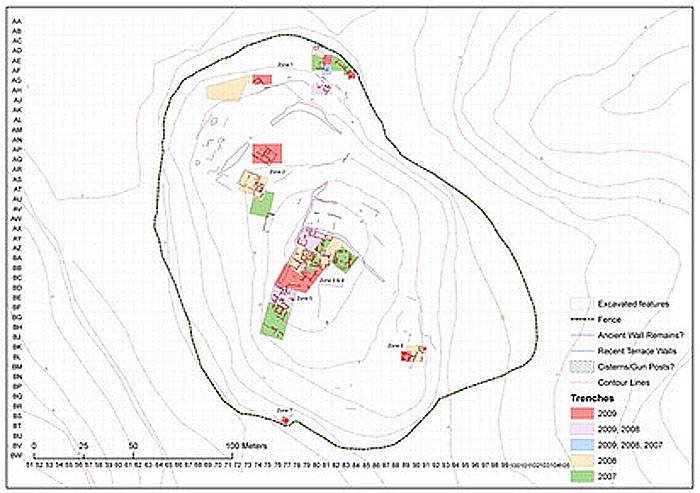 Plan drawing of the Sissi site, with technical data.