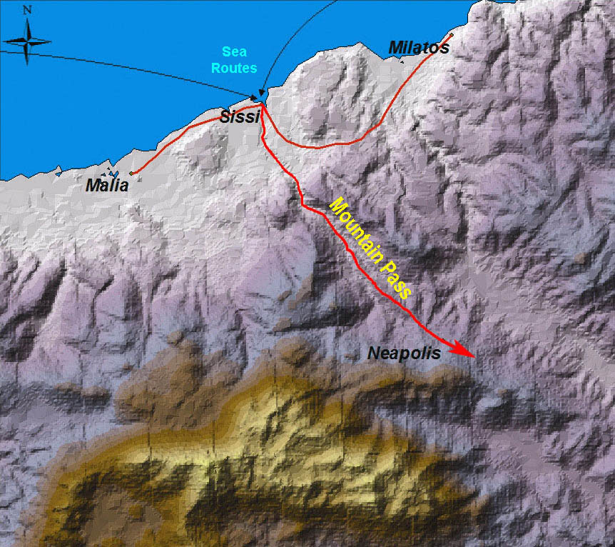 Sissi controls the sea and mountain pass routes to Malia.