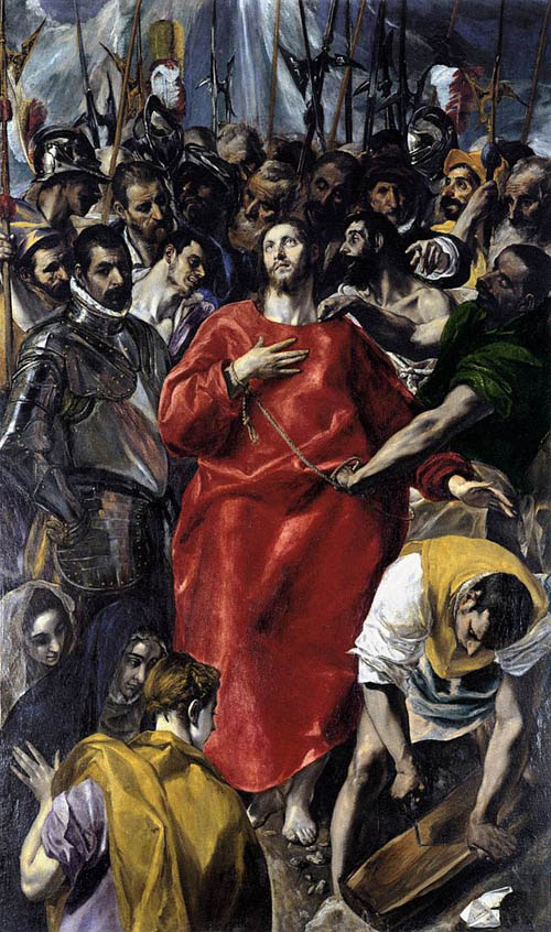 In his painting The Disrobing of Christ, el Greco shows the influence of his teachers in Venice and Rome.