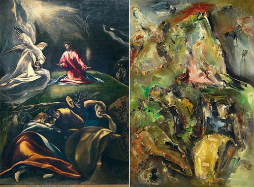El Greco's composition is the source of the Expressionist painting on the right. Note the figures and even the colors used.