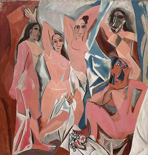 "Pablo Picasso's ""The Ladies of Avignon"" was inspired by El Greco's ""Vision"" above (note the women to the right of St. John)"