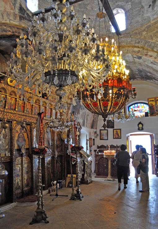 Inside the church is a stunning display of gold and religious art