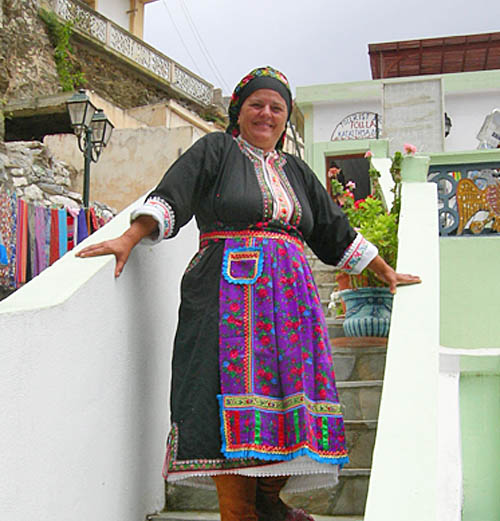 A smiling shopkeeper was the first person we met in the village