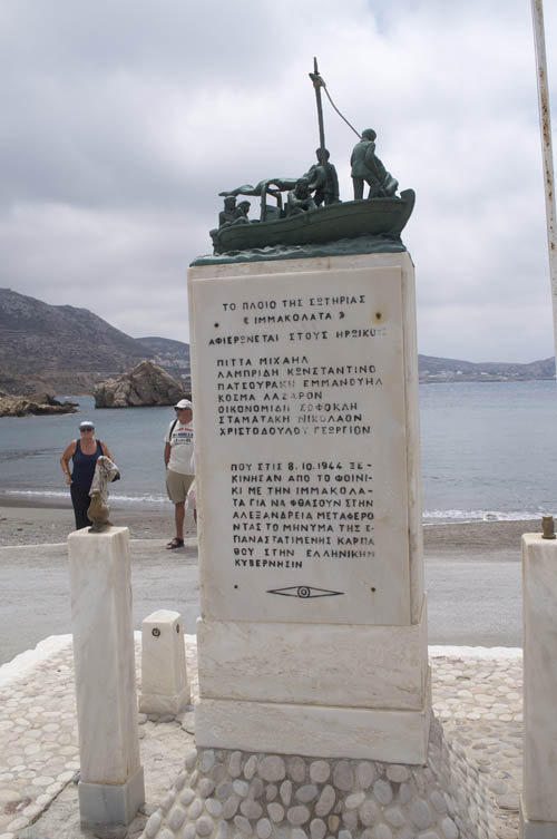 Finiki monument to brave seamen who saved the island