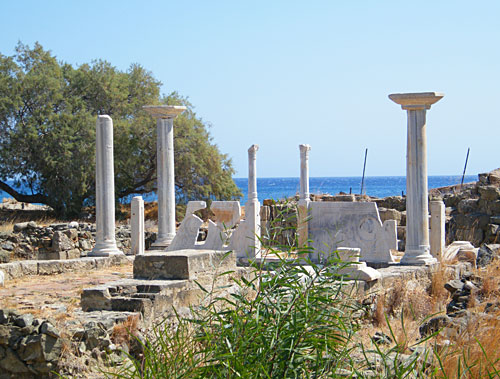 Ruins of the early basilica of Saint Fotini stand on the beach