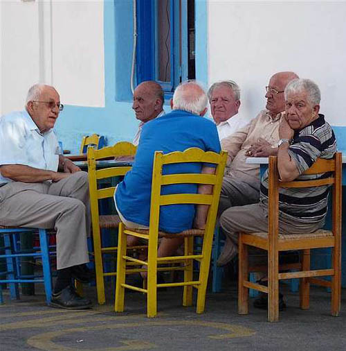 Old men meet at kafenions for coffee and conversation