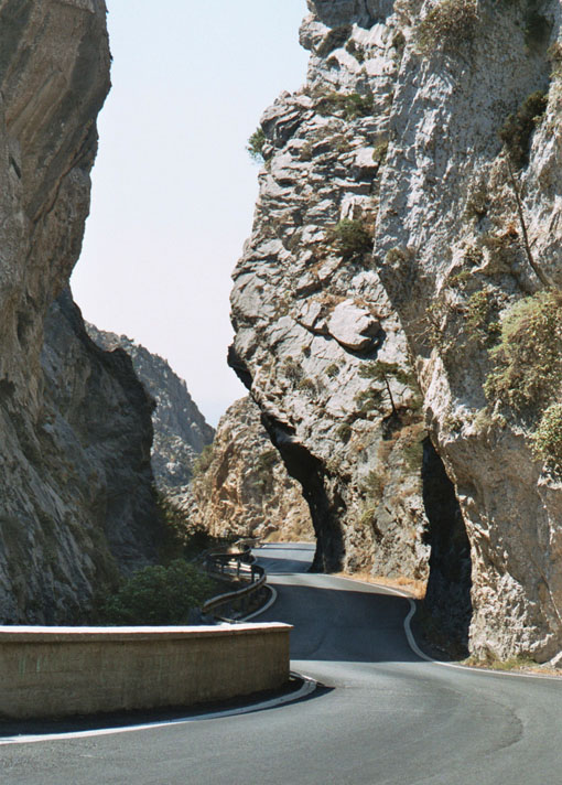 Driving through Kourtaliótiko Gorge can be a bit nerve-wracking at times.