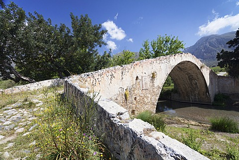 An ancient Venetian bridge over the Megalopotamos River near Kato Preveli Monastery
