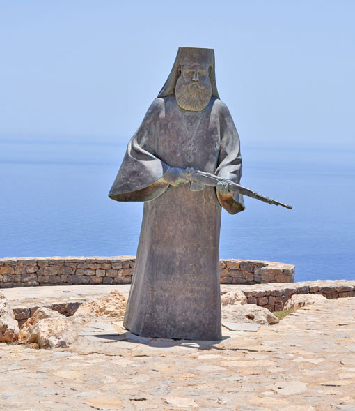 Statue of Abbot Agathangelos in the Preveli war memorial.