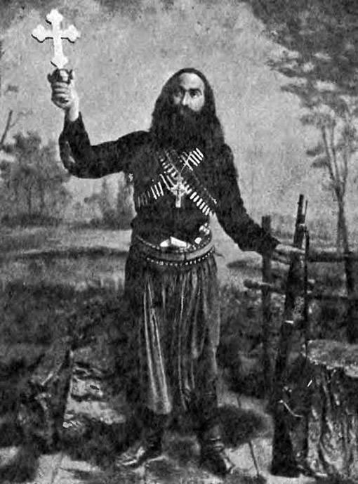 Papamalekos (father Malekos), a heavily armed monk ready to go into battle in 1897.