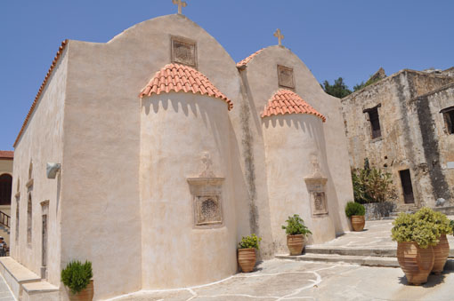Main church of the Piso Preveli monastery has been repaired many times over the centuries.