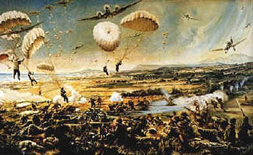 Artist's view of German forces landing in Rethymnon.